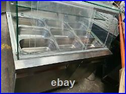 Commercial 9 Pan Curved Glass Saladette Prep Serve Over Counter Display Fridge