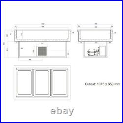 Cw3 Drop In Buffet Display Gastronorm Pizza Preperation Bar Counter Fridge