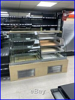Glass Refrigerated Serve Over Counter Display Fridge Chiller Deli Cake Curved