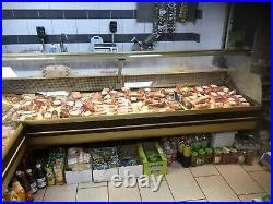 Meat deli counter, 3m display counter for meat and fish, gold