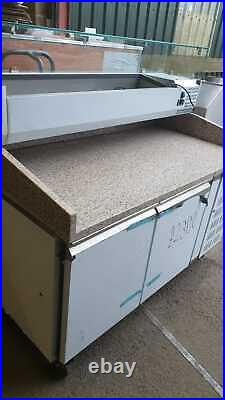 Pizza Prep Counter 2 Door Marble Top Refrigerated Counter Top Display with wheel