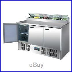 Polar Refrigerated 3 Door Pizza And Salad Prep Counter Display 390 L Commercial