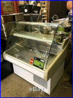 Refrigerated Serve Over Food Counter Display Fridge. Curved Glass Front