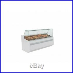 SERVE OVER COUNTER MEAT DIARY FISH DISPLAY SQUARE GLASS SHOP FRIDGE 1.96m