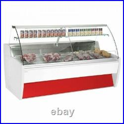 Serve over counter display fridge chiller for butchers meat 2m wide
