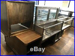 Solid oak Cafe Deli Sales Counter With Fridge Display Units